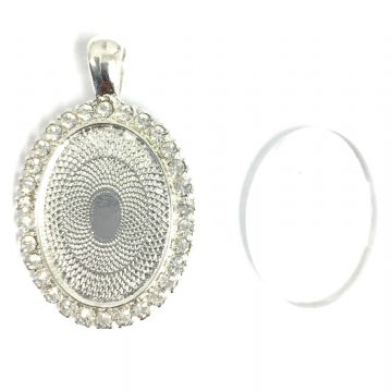 1pce x 24mmx 16mm make your own pendant kit - oval with crystal surround- silver plated -
